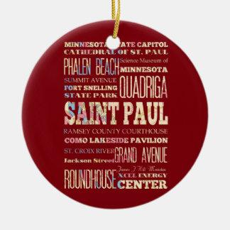 Famous Places of Saint Paul, Minnesota. Christmas Ornament