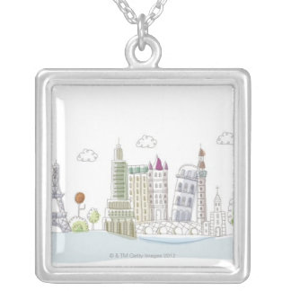 Famous Places of the World Silver Plated Necklace