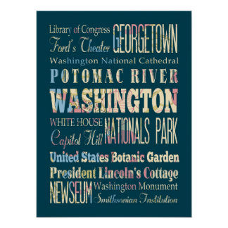 Famous Places of Washington, District of Colombia. Poster