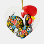 Famous Rooster of Barcelos Nr 06 - Floral edition Ceramic Heart Decoration