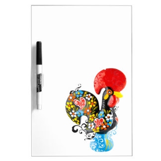 Famous Rooster of Barcelos Nr 06 - Floral edition Dry Erase Whiteboards