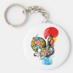 Famous Rooster of Barcelos Nr 06 - Floral edition Key Chain