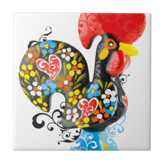 Famous Rooster of Barcelos Nr 06 - Floral edition Tile