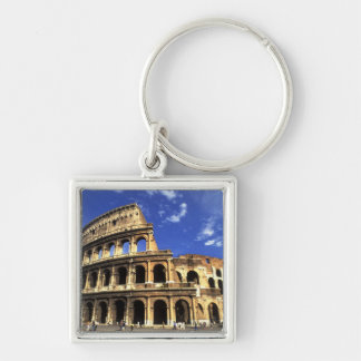 Famous ruins of the Coliseum in Rome Italy Silver-Colored Square Key Ring