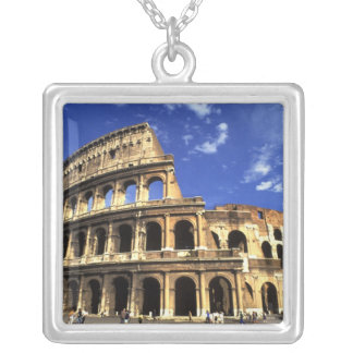 Famous ruins of the Coliseum in Rome Italy Silver Plated Necklace