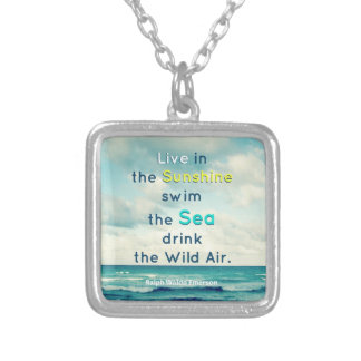 FAMOUS SUNSHINE SEA QUOTE ART NECKLACE