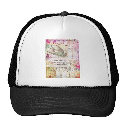 Famous Yiddish proverb with Judaica themed art Mesh Hats