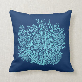 Fan Coral Print, Aqua on Deep Cobalt Blue Throw Pillow