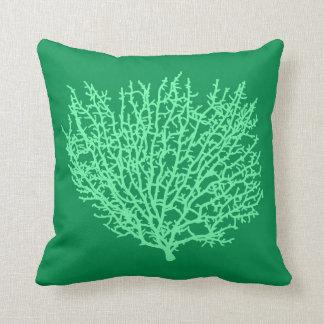 Fan Coral Print, Pale Green on Deep Jade  Green Cushion