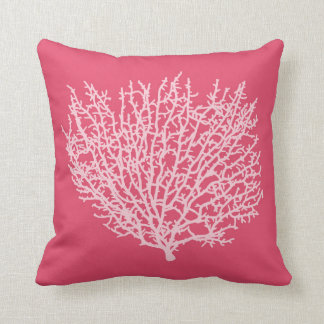 Fan Coral Print, Pale Pink on Deep Coral  Pink Cushion