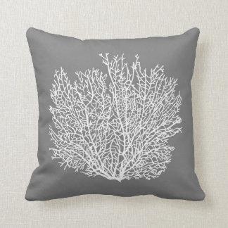 Fan Coral Print, Pale Silver on Medium Gray / Grey Cushion