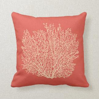 Fan Coral Print, Peach on Deep Coral  Orange Cushion