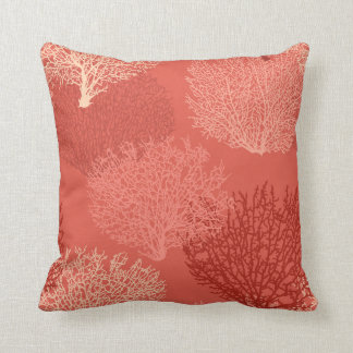 Fan Coral Print, Shades of Coral Orange Throw Pillow