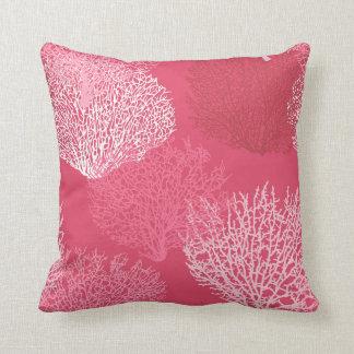 Fan Coral Print, Shades of Coral Pink Cushion