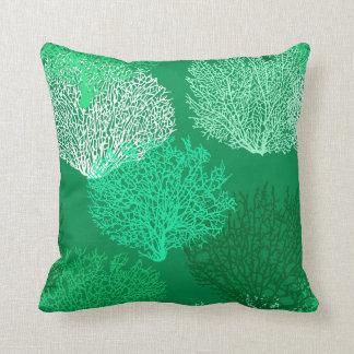 Fan Coral Print, Shades of Jade Green Cushion