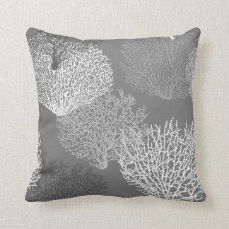 Fan Coral Print, Shades of Silver Gray / Grey Cushion
