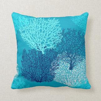 Fan Coral Print, Turquoise, Aqua and Cobalt Blue Cushion