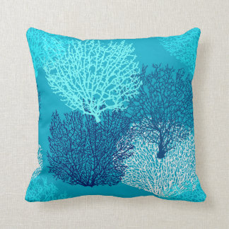 Fan Coral Print, Turquoise, Aqua and Cobalt Blue Throw Pillow