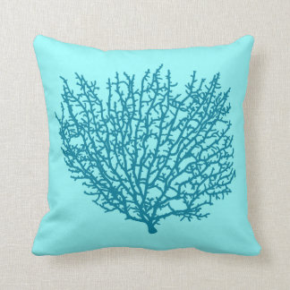 Fan Coral Print, Turquoise on an aqua background Cushion