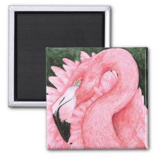 Fan Dancer - Flamingo Square Magnet