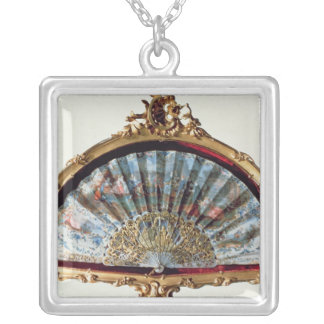 Fan, decorated with a scene of a fete silver plated necklace