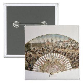 Fan depicting the Plaza de la Cebada, Madrid 15 Cm Square Badge