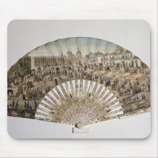 Fan depicting the Plaza de la Cebada, Madrid Mouse Pad
