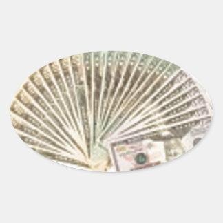 Fan of dollars oval sticker