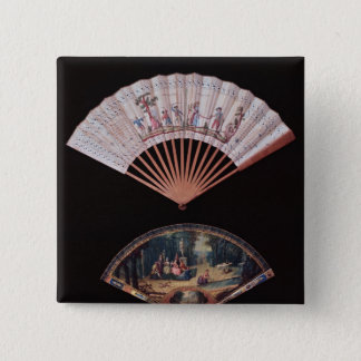 Fan of Vernis Matin type, French, mid-18th 15 Cm Square Badge