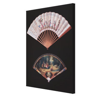 Fan of Vernis Matin type, French, mid-18th Canvas Print