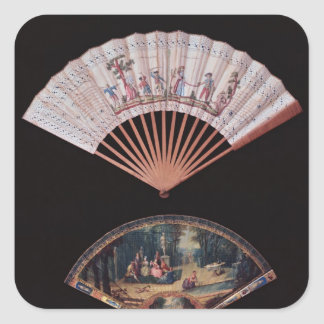 Fan of Vernis Matin type, French, mid-18th Square Sticker