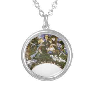 Fan with Caricatures by Eugene Delacroix Round Pendant Necklace