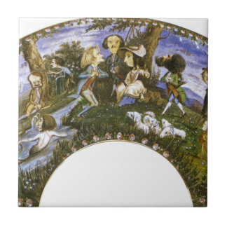 Fan with Caricatures by Eugene Delacroix Small Square Tile
