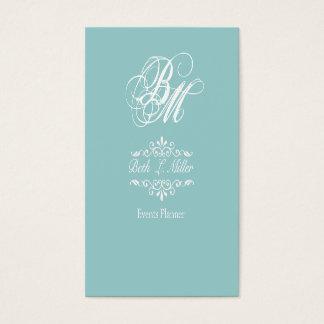 Fancier Curls Monogram Cool Event Planner Business Card