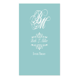Fancier Curls Monogram Cool Event Planner Pack Of Standard Business Cards