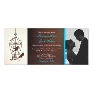 Fanciful Bird Cage Chocolate & Teal Photo Wedding 10 Cm X 24 Cm Invitation Card