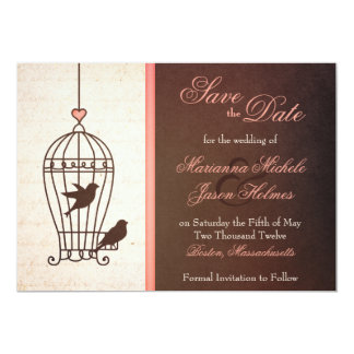 Fanciful Bird Cage Pink & Chocolate Save the Date 5x7 Paper Invitation Card