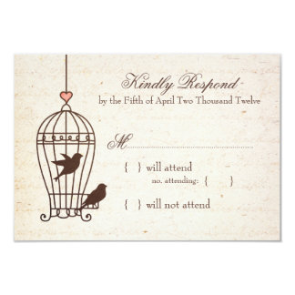 Fanciful Bird Cage - Pink & Chocolate Wedding RSVP 9 Cm X 13 Cm Invitation Card