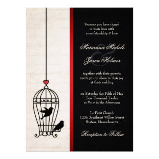 Fanciful Bird Cage & Romantic Red Ribbon Wedding Personalized Announcement