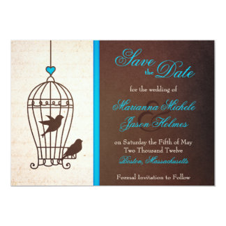 Fanciful Bird Cage Teal & Chocolate Save the Date 13 Cm X 18 Cm Invitation Card
