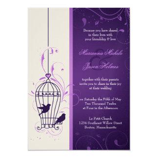 Fanciful Bird Cage with Swirls Aubergine Wedding 13 Cm X 18 Cm Invitation Card