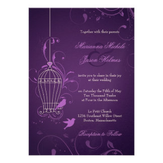 Fanciful Bird Cage with Swirls Aubergine Wedding Custom Invitation
