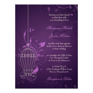 Fanciful Bird Cage with Swirls Aubergine Wedding Invitations