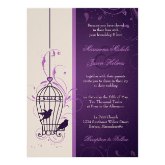 Fanciful Bird Cage with Swirls Aubergine Wedding Custom Invite