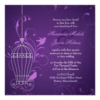Fanciful Bird Cage with Swirls Aubergine Wedding Custom Announcement