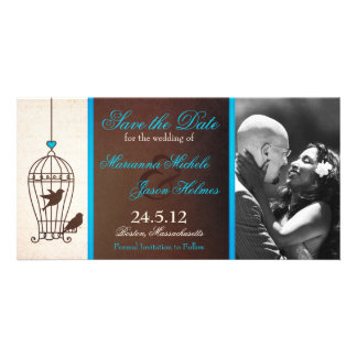 Fanciful Birdcage Chocolate & Teal Save the Date Picture Card