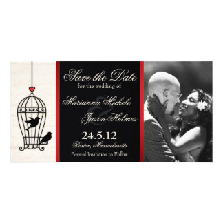 Fanciful Birdcage Photo Save the Date Red Ribbon Photo Card Template