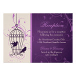 Fanciful Birdcage & Swirls Aubergine Reception Personalized Announcements