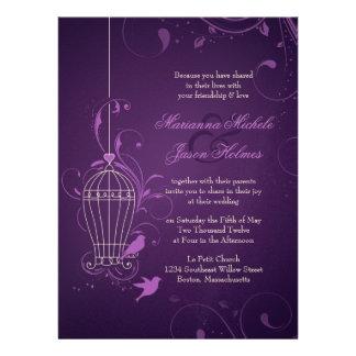 Fanciful Birdcage Swirls Aubergine Wedding Invitation