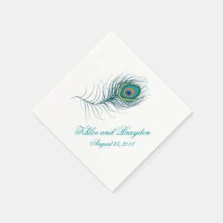 Fanciful Peacock Feather | Wedding Disposable Serviettes